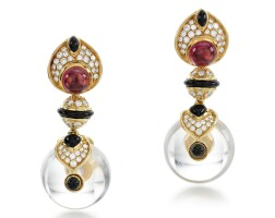 5. pair of gem set and diamond ear clips, 'pneu', marina b