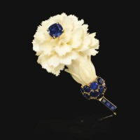 343. ivory and sapphire brooch, cartier, 1950s
