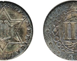 9. three-cent piece, silver, 1857, ngc ms 65 cac