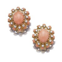 4. pair of coral and diamond ear clips, van cleef & arpels, 1970s