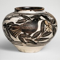 508. a rare finely painted and incised 'cizhou' 'birds' jar jin / yuan dynasty |
