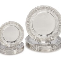 15. a set of twelve american silver dinner plates and twelve bread plates, mauser mfg. co., new york, retailed by brand-hier co., new york, late 19th century |