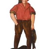 2. a dutch 'dummyboard' figure of a youth carrying a fish, 19th century |