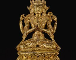 317. 藏漢 十六 / 十七世紀 銅鎏金四臂觀音坐像  