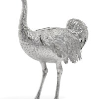 7. a german silver model of an ostrich, maker's mark a lily, circa 1890