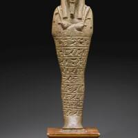 75. an egyptian faience ushabti of iret-hor-eru, 29th dynasty/early ptolemaic period, 398-300 b.c. | an egyptian faience ushabti of iret-hor-eru