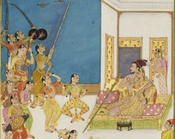 211. muhammad 'adil shah ii (r.1627-56) entertained on a terrace, deccan, bijapur, secondhalf 17th century, probably adapted in kishangarh, early 18th century
