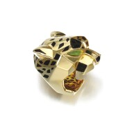 254. peridot, onyx andlacquer ring, 'panthère', cartier