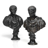 9. two italian bronze busts of the roman emperors caligula and claudius 17th/18th century