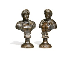 11. a pair of italian probably 19th century bronze busts of the vitellius (ad 68) and domitianus (ad 81 - 96) [two works] |