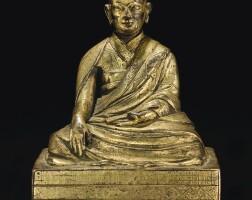163. a gilt-bronze figure of a lama qing dynasty, 18th century