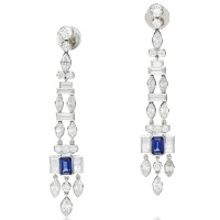 32. pair of sapphire and diamond pendent earrings