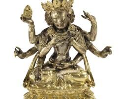32. statuette d'ushnishavijaya en bronze doré sino-tibétain, xviiie siècle  