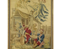 50. a late louis xv chinoiserie tapestry, after françois boucher and jean-joseph dumons aubusson, circa 1755-1775