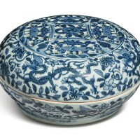 611. a pierced blue and white 'dragon' sweetmeat box and cover wanli mark and period |