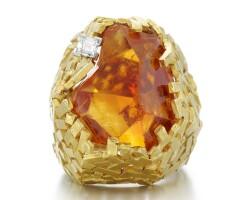 46. citrine and diamond ring, grima, 1965