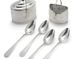 4011. an american silver tea caddy, sugar basket and set of four tablespoons, asa blanchard, dumfries, va, circa 1800