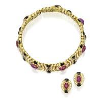 126. 紅寶石配縞瑪瑙及鑽石「catherine」項圈一條及耳環一對, marina b
