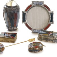 815. a group of silver-mounted hardstone objects, circa 1880-1900