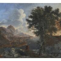22. attributed to bartolomeo torreggiani, called de rosa | a view of a port, possibly genoa