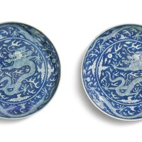 607. a pair of large reverse-decorated blue and white 'dragon' dishes daoguang seal marks and period |