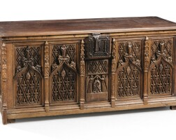 11. a neo-gothic carved oak coffer, 19th century, including old elements |