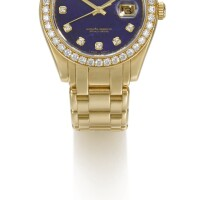 12. rolex | day-date pearlmaster, reference 18948 yellow gold diamond-set wristwatch with lapis lazuli dial, day, date and bracelet circa 2006