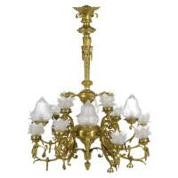 303. a brass and glass sixteen-light chandelier
