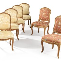 45. a suite of five louis xv chairs, with one additionnal chairof later date  