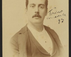 198. puccini, giacomo. fine early cabinet photograph, signed and inscribed by him in ink