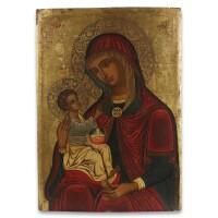 """18. a veneto-cretan icon of the mother of god """"madre della consolazione (dexiokratoussa)"""", 17th century"""