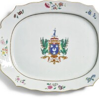 303. a chinese export armorial platter, qing dynasty, qianlong period, circa 1757 |