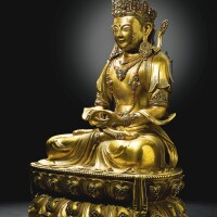18. an imperial gilt-bronze figure of amitayus qing dynasty, kangxi period