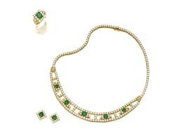1302. emerald and diamond demi-parure