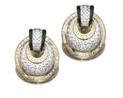 49. pair of onyx and diamond ear clips