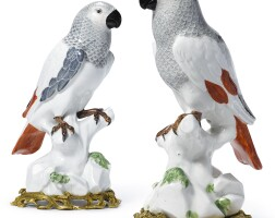 31. two meissen figures of gray parrots circa 1731-34