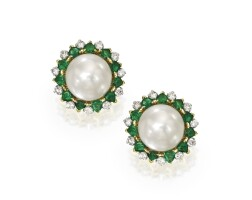 19. pair of two-color gold, cultured pearl, diamond and emerald earclips