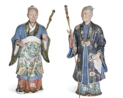 12. a pair ofchinese export paintedclay 'nodding head' figures, qing dynasty, early 19th century |