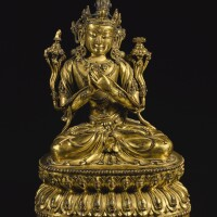 107. an exceptional gilt-bronze figure of manjushri yongle mark and period |