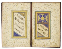 136. an illuminated calligraphic muraqqa' of poetry, persia, safavid, 16th/17th century
