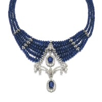 244. sapphire and diamond necklace, circa 1910 and later