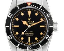 """2309. 勞力士   submariner """"big crown four line"""" 型號6538 精鋼鍊帶腕錶,備漆製錶盤,機芯編號n724256,錶殼編號307167,約1957年製"""