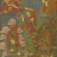 403. a thangka depicting arhats and guardian kings tibet, 18th century