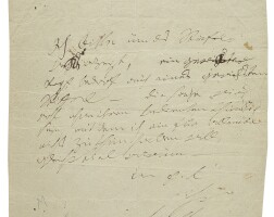 """164. beethoven, ludwig van. fine characteristic autograph letter signed (""""beethoven""""), to his friend nikolaus von zmeskall"""