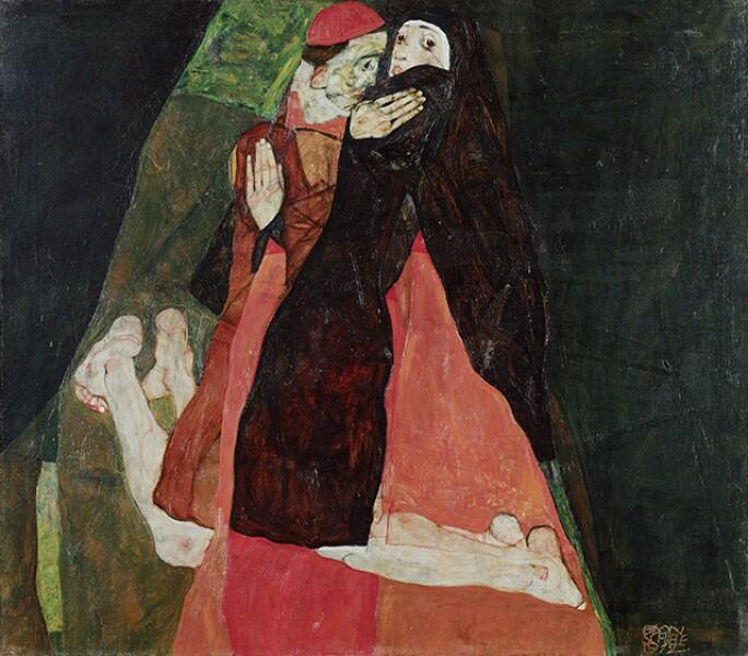 """EGON SCHIELE, KARDINAL UND NONNE (""""LIEBKOSUNG""""), 1912."""