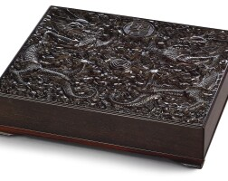 3512. a finely carved zitan 'dragon' document box and coverqing dynasty, qianlong period  
