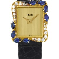 31. piaget   reference 41548 a yellow gold, diamond and sapphire-set wristwatch, made in 1991