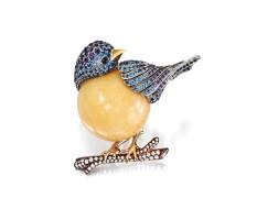 1729. melo pearl, sapphire, amethyst and diamond brooch / pendant