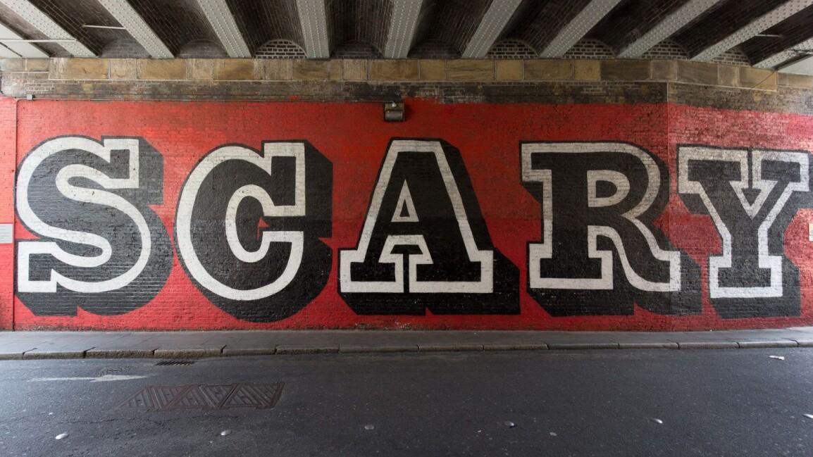Ben Eine Scary mural Shoreditch, East London