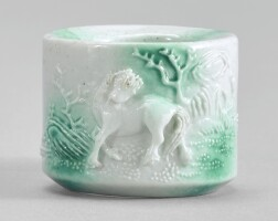 910. a white-glazed green-splashedarcher's ring qing dynasty, daoguang period